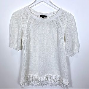 J. Crew short sleeve open knit fringe sweater